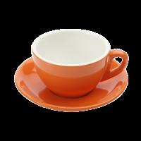 Cappuccinotasse und Untertasse orange